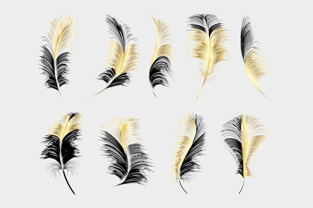 Set van verschillende vallende pluizige dik veren op een witte achtergrond. Premium Vector