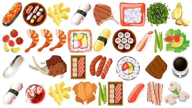 Set van verschillende voedingsmiddelen Gratis Vector