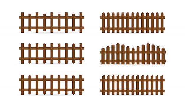 Set van verschillende vormen landelijke houten hekken. geïsoleerde gedetailleerde elementen voor het ontwerp van de tuinillustratie Premium Vector