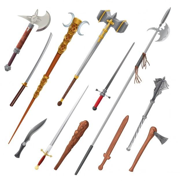 Set van verschillende wapens vector geïsoleerde objecten Gratis Vector