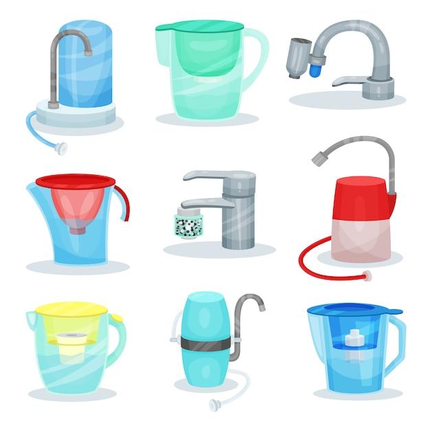 Set van verschillende waterfilters. metalen keukenkranen met luchtreinigers. glazen kannen met filterpatronen Premium Vector