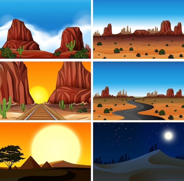 Set van verschillende woestijntaferelen Premium Vector