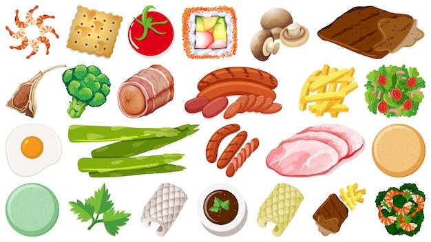 Set van verse voedselingrediënten Gratis Vector