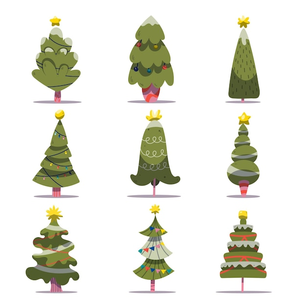 Set van versierde kerstbomen Gratis Vector