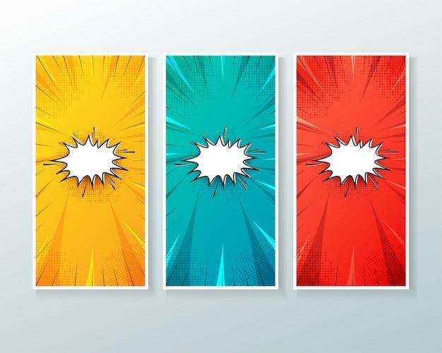 Set van verticale banner achtergrond met komische stijl Premium Vector