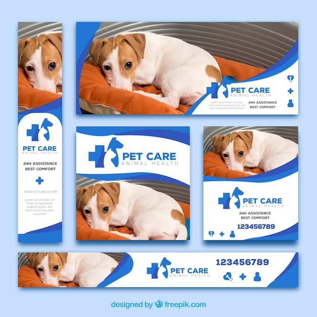 Set van veterinaire banners Gratis Vector