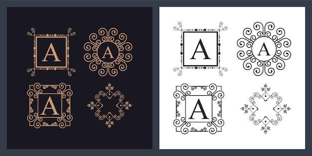 Set van vier decoratieve monogrammen Premium Vector