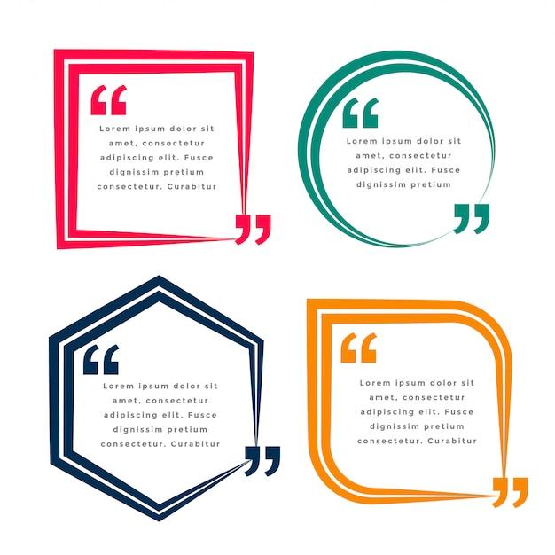 Set van vier geometrische citaten sjabloon Gratis Vector