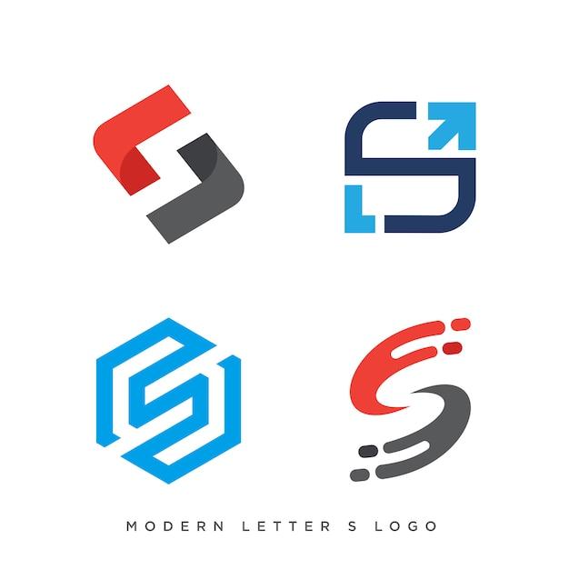 Set van vier moderne letter s-logo Premium Vector