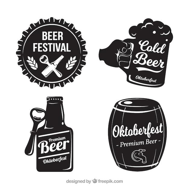 Set van vier oktoberfest vintage stickers Gratis Vector