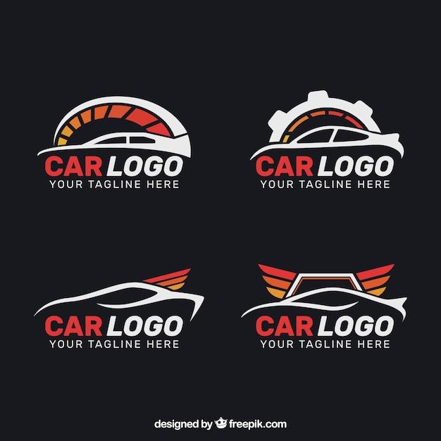 Set van vier platte wagen logo met rode elementen Gratis Vector