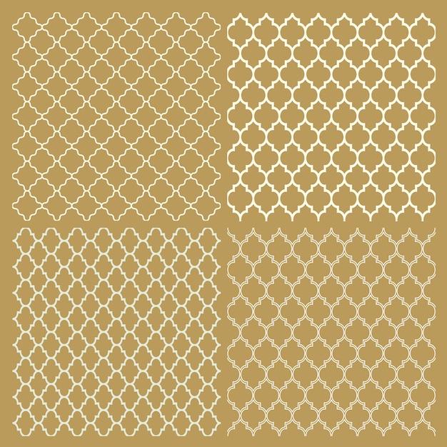Set van vier traditionele arabische delicate patronen Premium Vector
