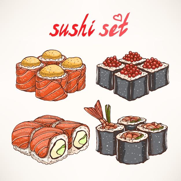 Set van vier verschillende soorten heerlijke handgetekende broodjes Premium Vector