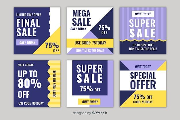 Set van vierkante verkoop bannerontwerp voor instagram Gratis Vector