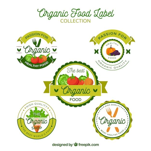Set van vijf ecologische stickers in platte vormgeving Gratis Vector