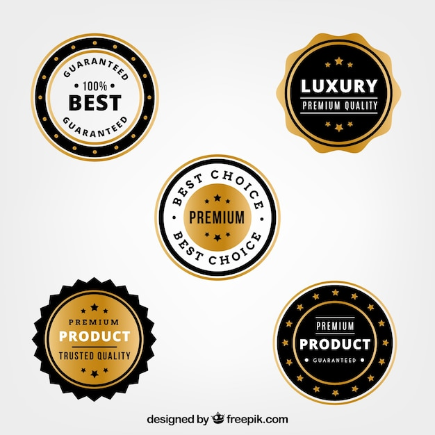 Set van vijf luxe producten stickers Gratis Vector