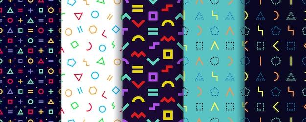 Set van vijf memphis naadloze patronen. geometrische vormen texturen. . inpakpapier . Premium Vector