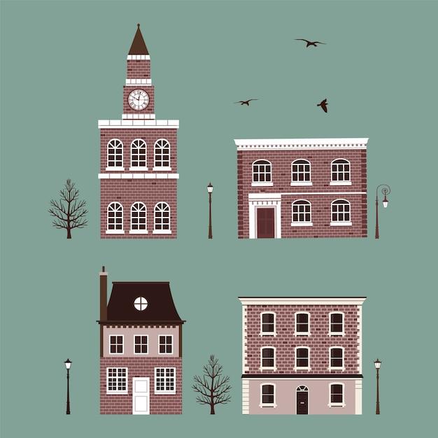 Set van vintage bakstenen huizen en kapel Premium Vector