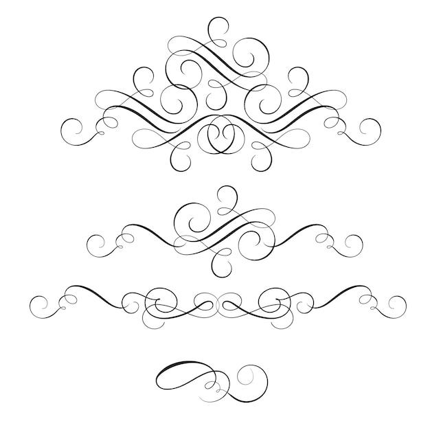 Set van vintage bloeien decoratieve kunst kalligrafie Premium Vector