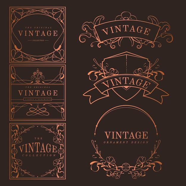 Set van vintage bronzen art nouveau badges vector Gratis Vector