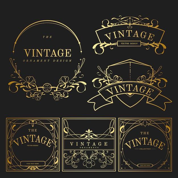 Set van vintage gouden art nouveau elementen vector Gratis Vector