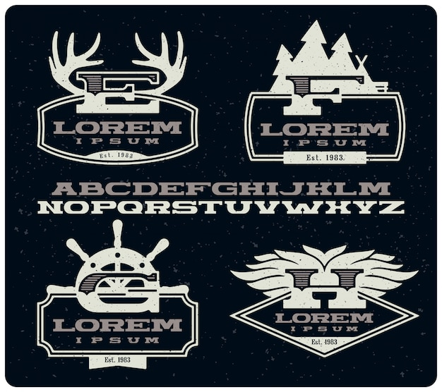 Set van vintage insignes badges met lettertype Premium Vector