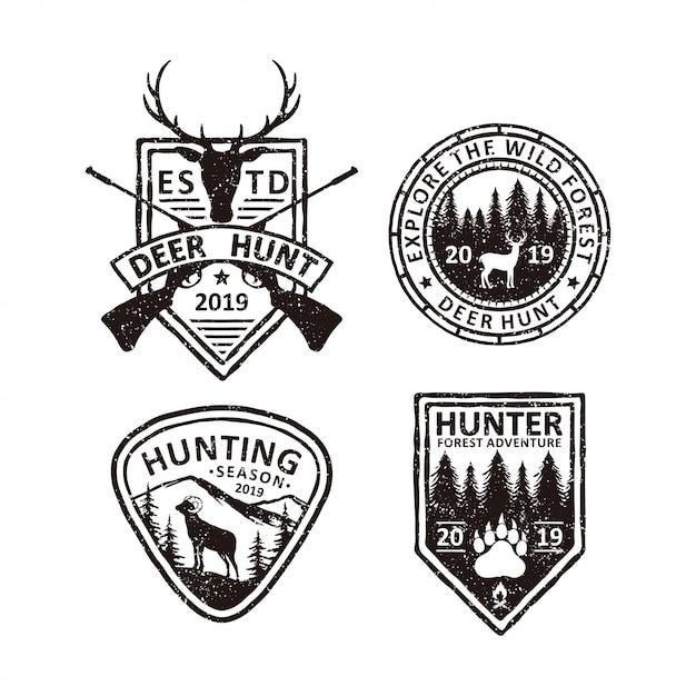Set van vintage jacht badges etiketten, emblemen en logo Premium Vector