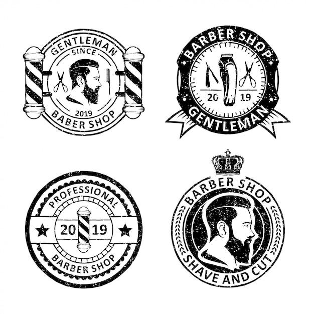Set van vintage kapper etiketten etiketten, emblemen en logo-ontwerp Premium Vector