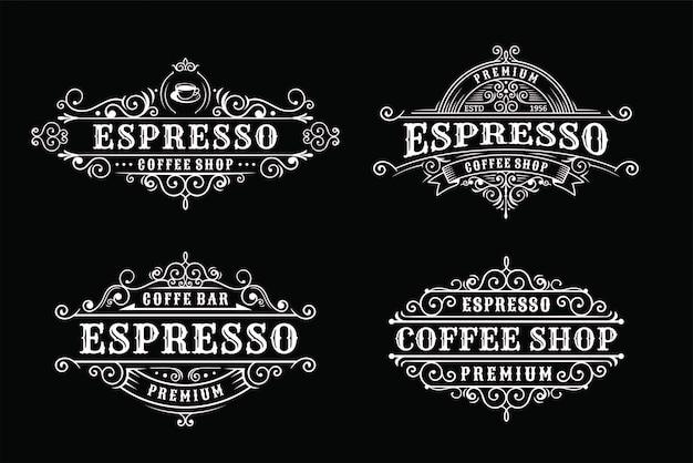 Set van vintage koffie labelontwerp, kalligrafie en typografie elementen stijl ontwerp Premium Vector