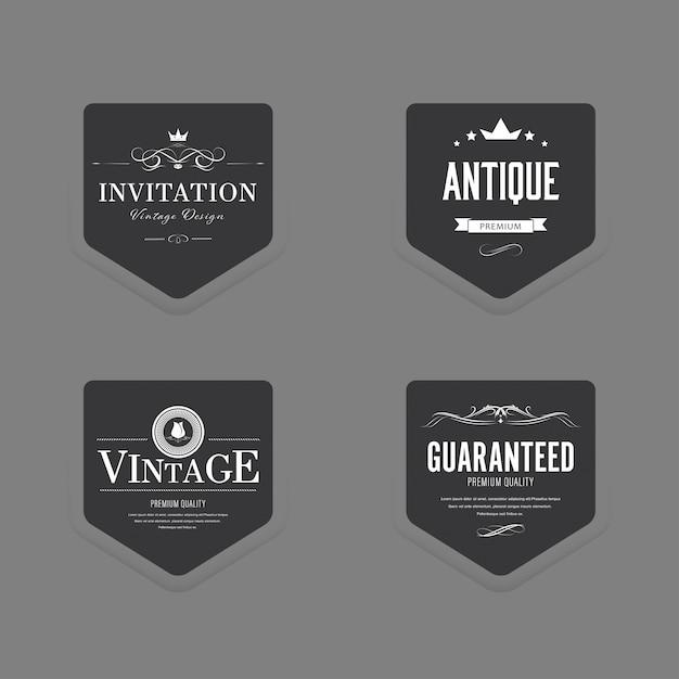 Set van vintage label oude mode luxe badge. Premium Vector