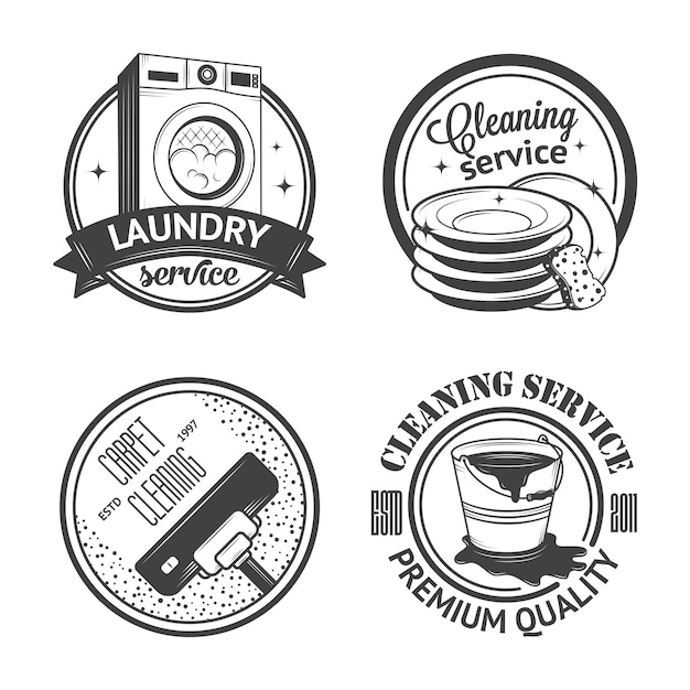 Set van vintage logo's Premium Vector