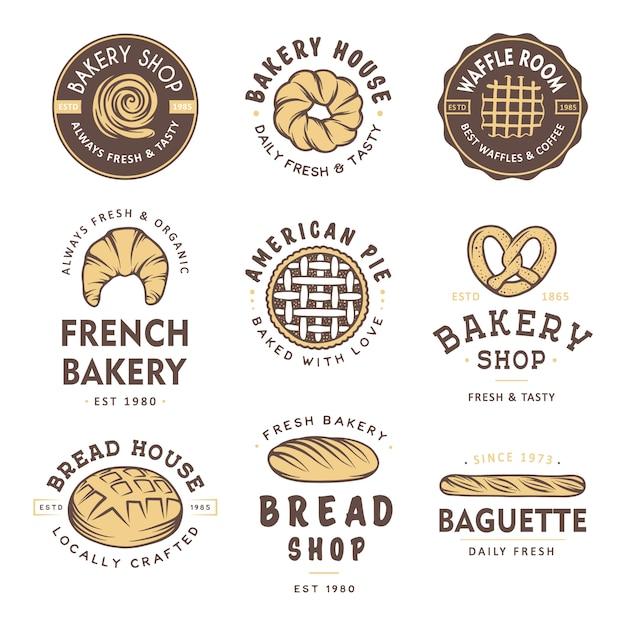 Set van vintage stijl bakkerij winkel badges en logo. Premium Vector