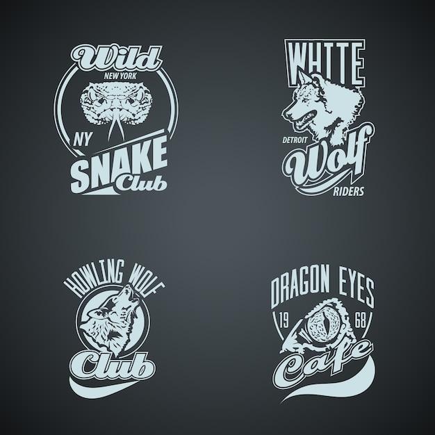 Set van vintage wilde dieren retro logo's. gekleurde Premium Vector