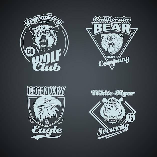 Set van vintage wilde dieren retro logo's. Premium Vector