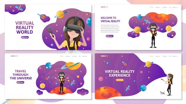 Set van virtual reality-technologie bestemmingspagina website sjabloon. meisje met vr-headset in de ruimte met planeten en raket. vlakke afbeelding Premium Vector