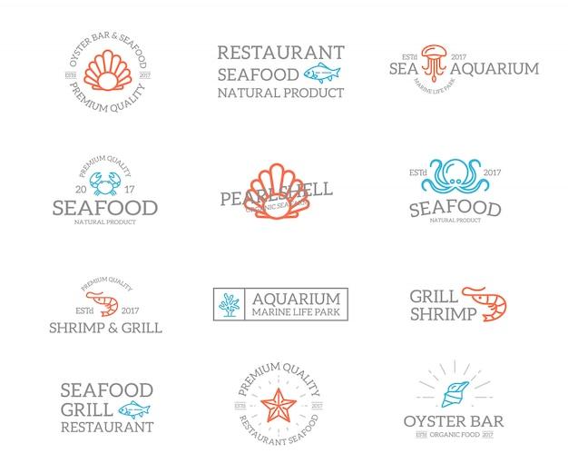 Set van vis en zeevruchten logo-combinatie. Premium Vector