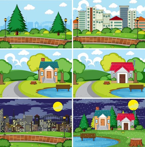 Set van vlakke scène illustratie Gratis Vector