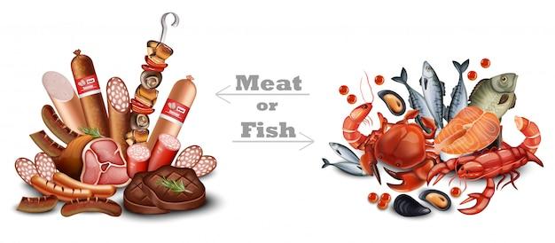 Set van vlees en zeevruchten Premium Vector