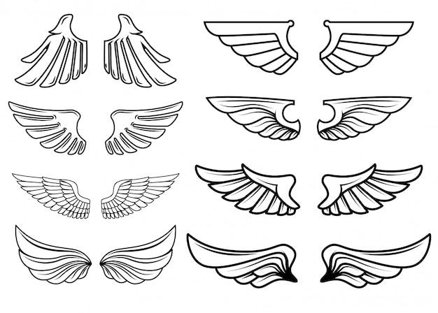 Set van vleugels iconen. elementen voor logo, label, embleem, teken. illustratie Premium Vector