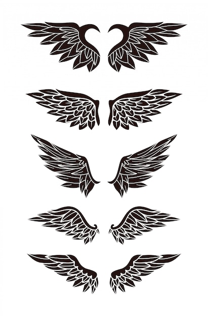 Set van vleugels Premium Vector