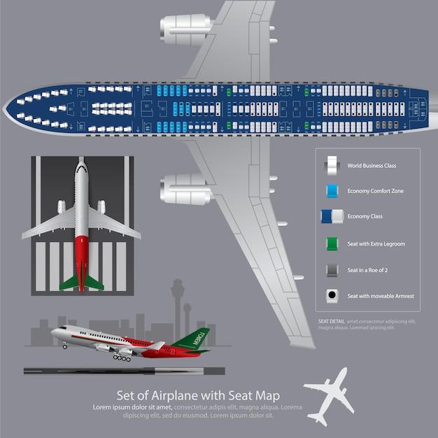 Set van vliegtuig met zetel kaart geïsoleerd illustratie Premium Vector