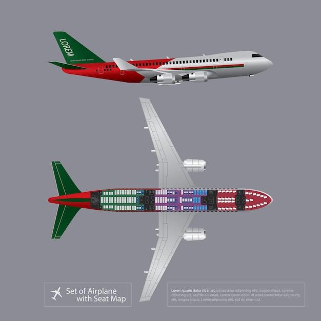 Set van vliegtuig met zetel kaart geïsoleerd vectorillustratie Premium Vector