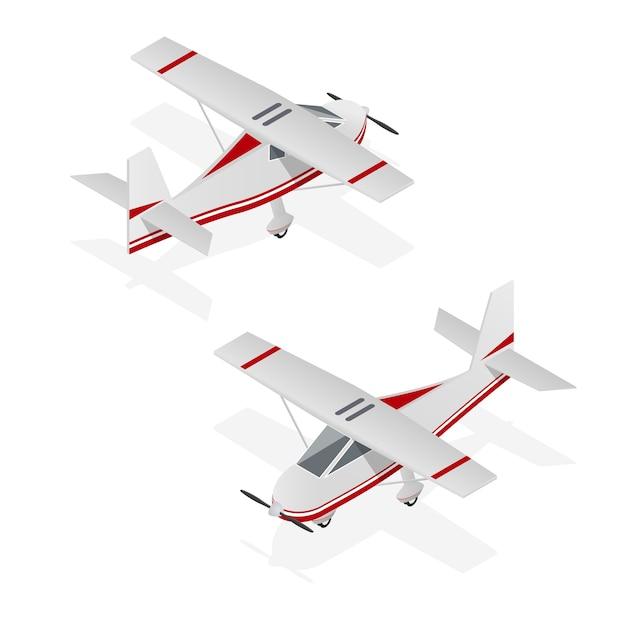 Set van vliegtuig min op isometrische weergave Premium Vector
