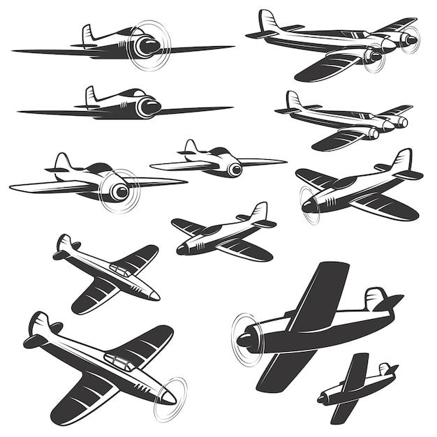 Set van vliegtuigen pictogrammen op witte achtergrond. elementen voor, embleem, teken. illustratie. Premium Vector