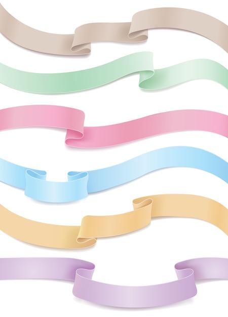 Set van vloeiende satijnen of zijden linten in pasteltinten. horizontale ontwerpelementen te koop Gratis Vector
