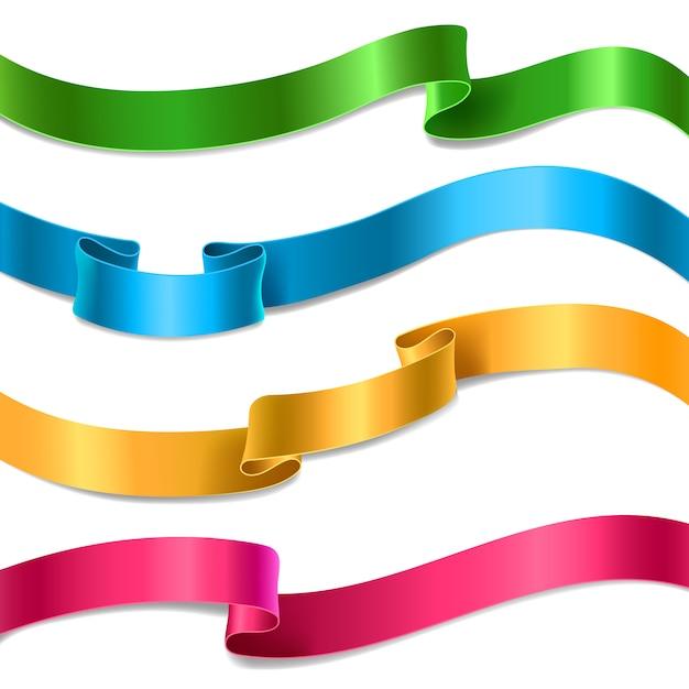 Set van vloeiende satijnen of zijden linten in verschillende kleuren. Gratis Vector