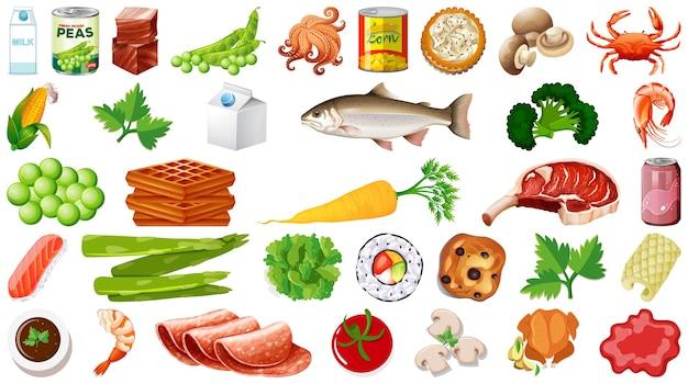 Set van voedsel geïsoleerd Gratis Vector