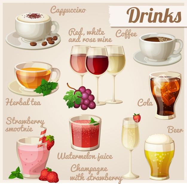 Set van voedsel iconen. drankjes. Premium Vector