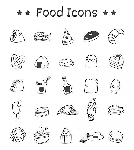 Set van voedsel pictogrammen in doodle stijl Premium Vector