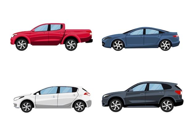 Set van voertuigen pick-up truck, hatchback, suv en sedan in zijaanzicht. Premium Vector